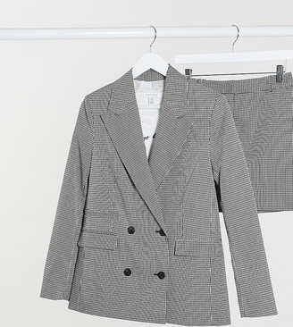 Topshop Tall mini check jacket in mono