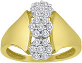 JCPenney FINE JEWELRY diamond blossom 1/2 CT. T.W. Diamond 10K Yellow Gold Triple-Cluster Ring