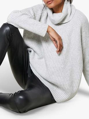 Mint Velvet Mid Rise Faux Leather Trouser Leggings, Black