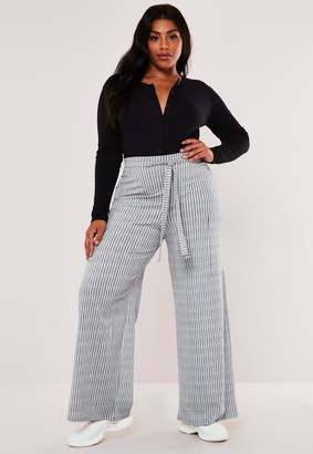 Missguided Recycled Plus Size Grey High Waisted Rib Wide Leg Trousers