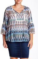 Jessica Simpson Tabitha Shadow Stripe Peasant Blouse (Plus Size)