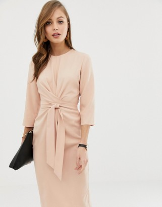 ASOS DESIGN tie wrap around midi dress in pink