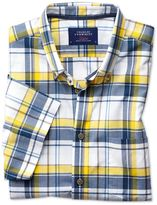 Charles Tyrwhitt Slim Fit Button-Down Poplin Short Sleeve Navy Blue and Yellow Check Cotton Casual Shirt Single Cuff Size XS