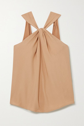 Mother of Pearl Net Sustain Open-back Twist-front Crepe Top - Camel