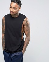 Asos Longline Sleeveless T-Shirt With Extreme Dropped Armhole In Black