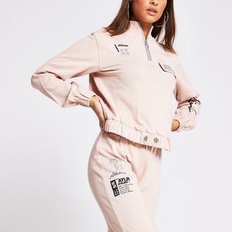 River Island Womens Pink half zip sweatshirt