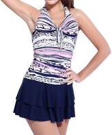 LAPAYA Women's One Piece Bathing Suits Halter Patterned Ruched Skirted Swimsuits
