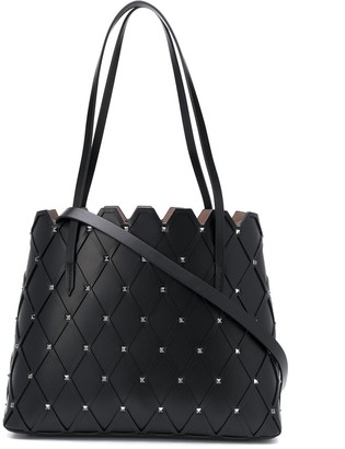 Valentino Rockstud diamond-quilted leather tote