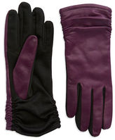 Lord & Taylor Ruched Leather Gloves