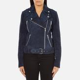 Gestuz Women's Daya Suede Biker Jacket Blue