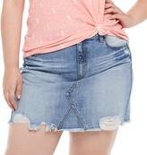 So Juniors' Plus Size SO Two Tone Frayed Denim Skirt
