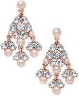 Charter Club Rose Gold-Tone Pavé Pink Imitation Pearl Chandelier Earrings, Only at Macy's