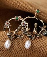 Streetregion Women's Earrings Red - Imitation Pearl & 18k Gold-Plated Bird Drop Earrings