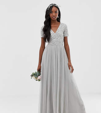 Maya Tall Bridesmaid v neck maxi tulle dress with tonal delicate sequins in soft grey