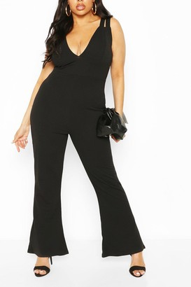 boohoo Plus Double Strap Plunge Jumpsuit