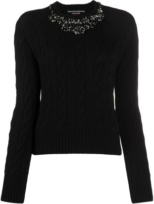 Ermanno Scervino Crystal-Neck Cable Knit Sweater