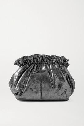 Loeffler Randall Willa Metallic Suede Clutch - Silver