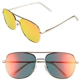 Quay Women's 'Running Riot' 58Mm Aviator Sunglasses - Gold/ Pink