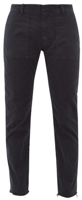 Nili Lotan Jenna Cropped Stretch Cotton-twill Trousers - Navy