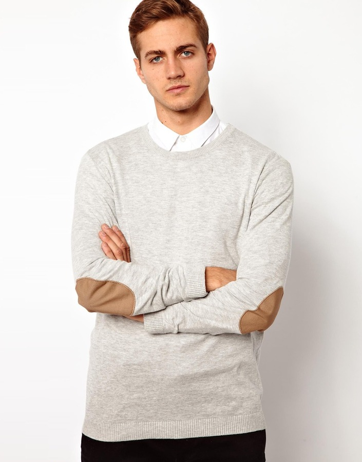 Asos Crew Neck Sweater With Elbow Patches.