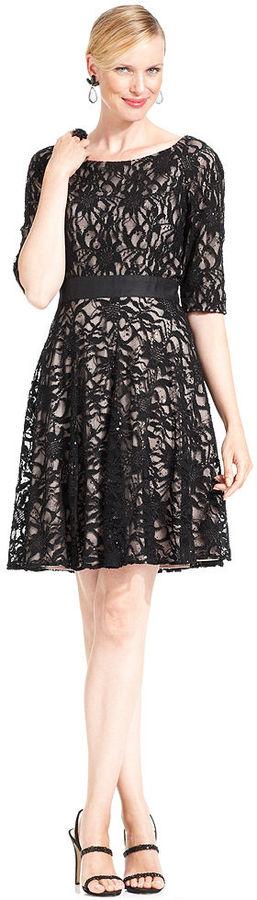 Patra Dress, Short-Sleeve Sequin Lace A-Line