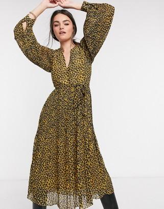 Traffic People waist tie midi dress in leopard print