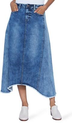 WASH LAB Pieced Raw Hem Denim Skirt