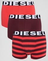 Diesel Stripe Trunks In 3 Pack Red