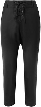 Nili Lotan Paris Cropped Lace-up Wool-twill Pants