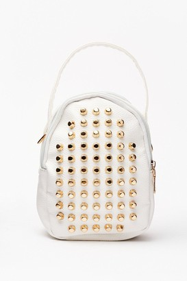 Nasty Gal Womens WANT Stud a Chance Mini Backpack - White - ONE SIZE, White