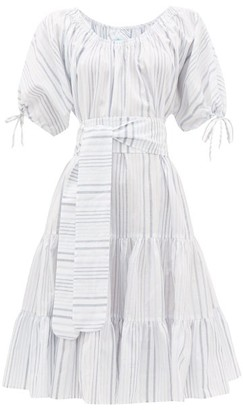 Loup Charmant Vera Striped Tiered Cotton-blend Dress - Blue Stripe