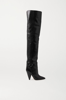 Isabel Marant Lage Leather Over-the-knee Boots - Black