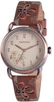 Kahuna White Dial Pink Flower Dark Brown Strap Ladies Watch