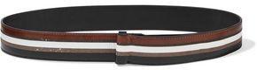 Brunello Cucinelli Bead-embellished Striped Leather Belt