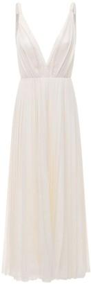 Gabriela Hearst Pleated Wool & Cashmere Gauze Dress