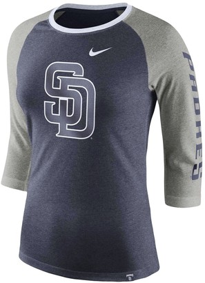 Nike Women's Navy San Diego Padres Tri-Blend 3/4-Sleeve Raglan T-Shirt