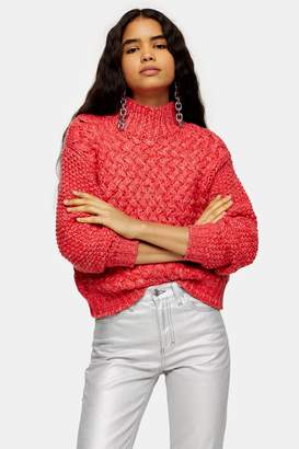 Topshop Red Twisted Hand Knit Sweater