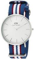 Daniel Wellington Belfast Silver Men's Quartz Watch with White Dial Analogue Display and Multicolour Nylon Strap 0213DW