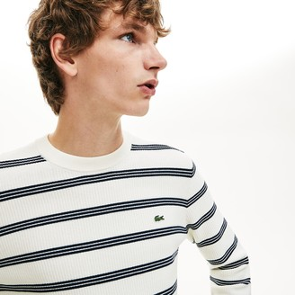 Lacoste Men's Crewneck Pinstriped Wool and Cotton Sweater