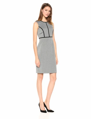 Kasper Women's Sleeveless Jewel Neck Stretch Tweed Dress with Black Piping