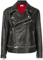 RED Valentino distressed moto jacket - women - Cotton/Calf Leather/Viscose - 38