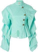 Awake ruffle-sleeve peplum shirt