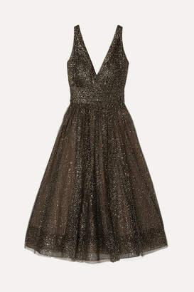 Marchesa Glittered Tulle Midi Dress - Black