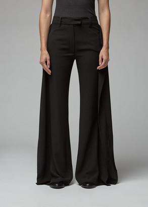 Ann Demeulemeester Women's Wide Leg Panel Trouser Pants in Black Size 40 Rayon/Fleece Wool