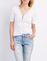 Charlotte Russe Ribbed Lace-Up Fitted Tee