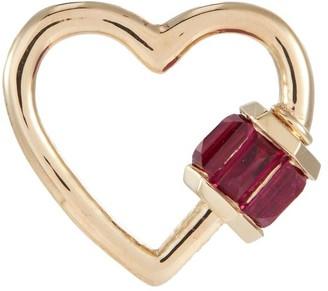 Marla Aaron 'Heart' ruby 14k yellow gold baby lock