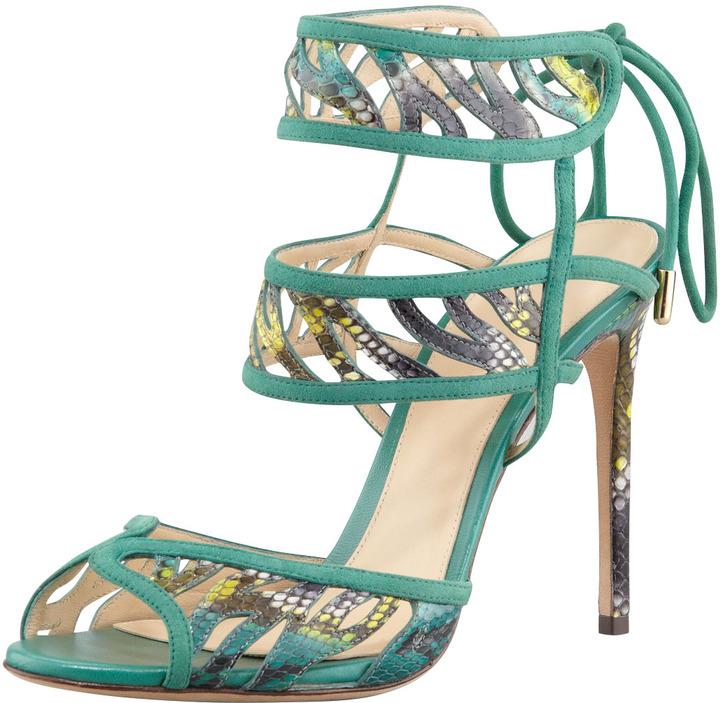 Alexandre Birman Double Ankle-Wrap Sandal, Navy/Cactus