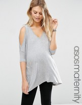 Asos Oversized Cold Shoulder Top with Asymmetric Hem