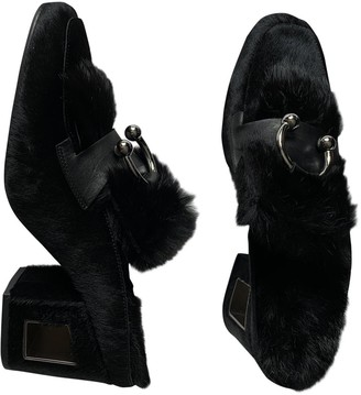 Vic Matié Black Rabbit Mules & Clogs