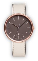 Uniform Wares M38 Women's date watch in PVD rose gold with mist textured calf leather strap